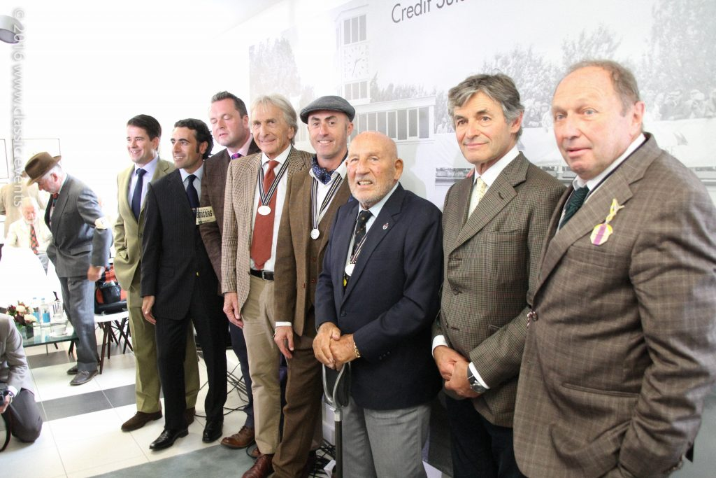 Left to right: Henry Hope-Frost, Karsten Le Blanc, Dario Franchitti, Derek Bell, David Brabham, Sir Stirling Moss, Alain de Cadinet, Jochen Mass at the Goodwood Revival 2016 / Credit Suisse Press Conference